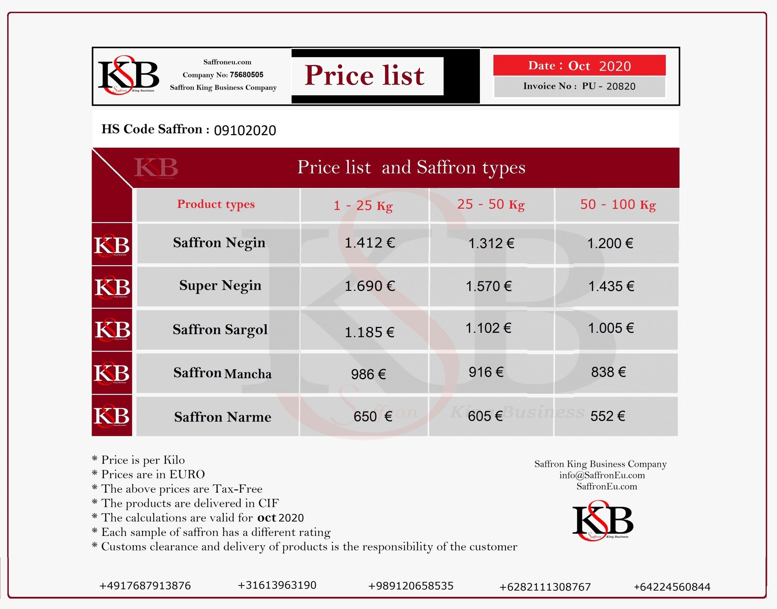 Preis für Safran und Verkauf von Safran